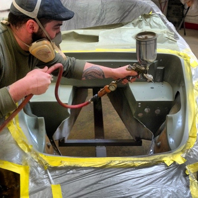 Jay priming the engine bay with a nice juicy coat of epoxy primer #lotus #elan #restoration #primer #priming #sportscarrestoration #thecarlife #cars #carporn