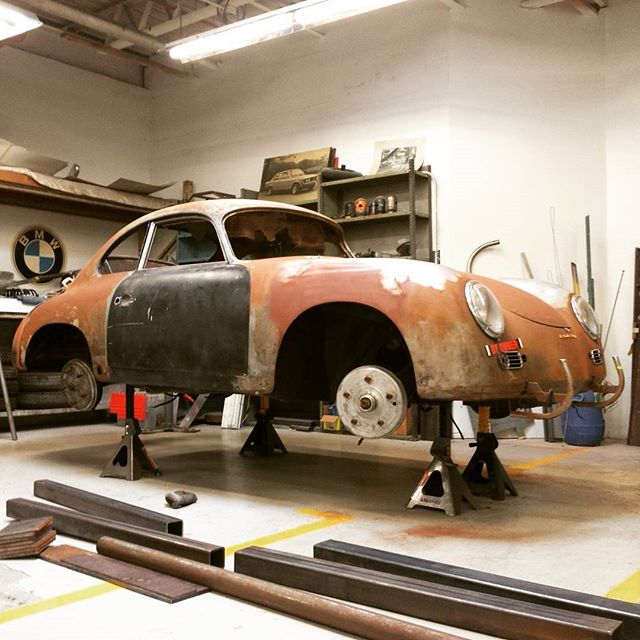 Preparing a 356 for rotisserie fabrication and installation.