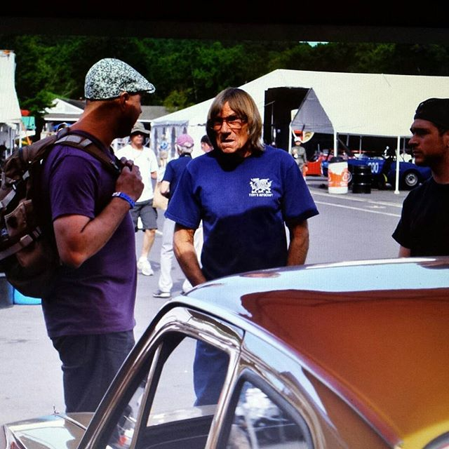 SCR staff chatting with Tivvy Shenton at Lime Rock Historics 2016