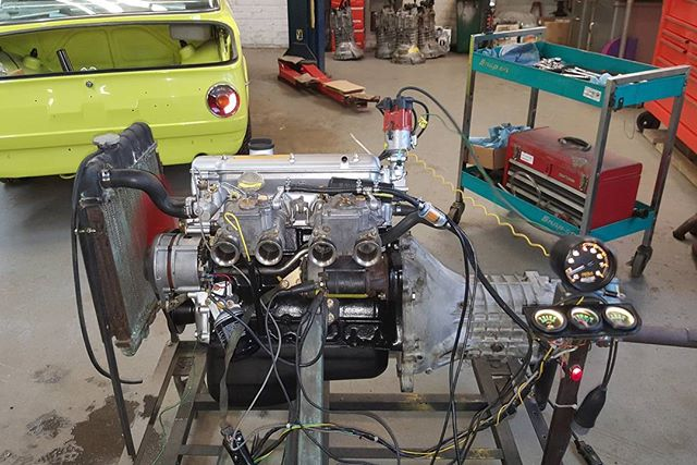 We broke out the old engine test stand this week. Four rebuilt engines on deck for test running and baseline tuning.