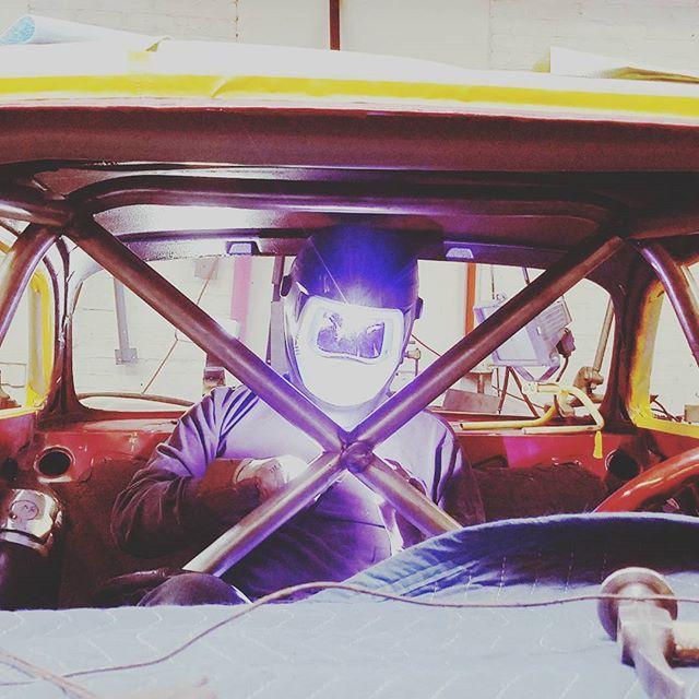 Matt McGinn welding Alfa roll cage